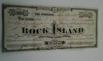 1876 Rock Island Gold & Silver Mining Co stock certificate Gold Hill NV & S Fran