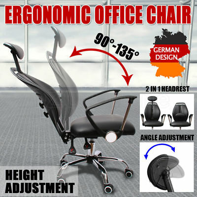 Office Chair Seat Adjustable Height Head Rest PU Leather German Design Ergonomic