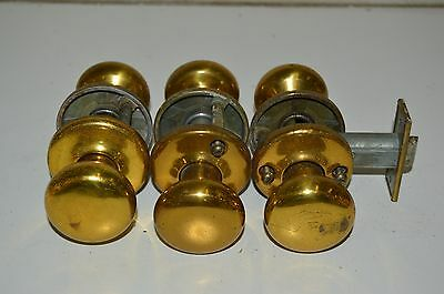 Lot Of 6 Old Vintage Shinny Brass? Or Brasstone Metal? Door Handles / Knobs