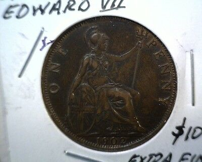 1902 Great Britain Penny Coin KM#794.1 Extra Fine Edward VII #2