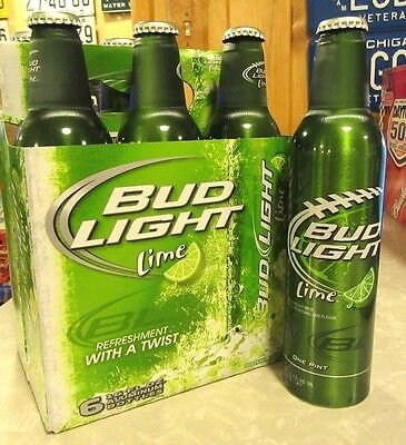 2012 Bud Light Lime Carry Carton 6 Pack Aluminum Bottle Beer Cans #502021