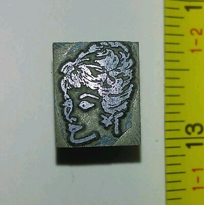 Vintage Letterpress Printing Block Woman With Updo Hairstyle Rare
