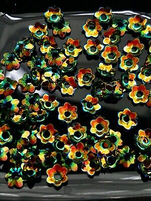Sequins 5mm Flower Tiny Black & Liquid Gold Cup Choose Pack Size