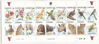 Namibia:1997 Flora & fauna stamp booklet shettlet of 18 stamps. SG 749/766. MUH