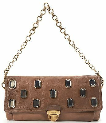 PRADA Authentic Brown Leather Jewel Embellished Shoulder Bag
