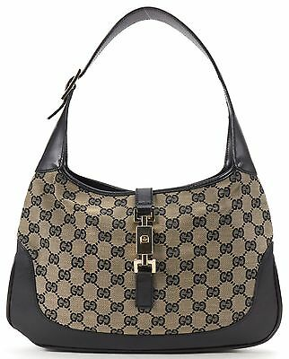 GUCCI Authentic Navy Blue Black GG Canvas Jackie Hobo Shoulder Handbag