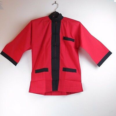 "Traditional Chinese Red & Black Men's Jacket - Size Small 27"" L - New with tags"