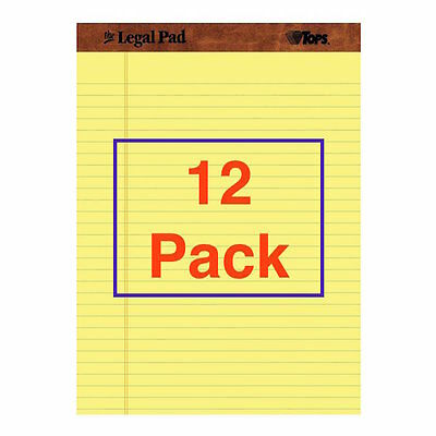 12 Pack Legal Pads Paper 50 Sheets Canary Yellow Wide Ruled Size 8.5 11 Rule Pad