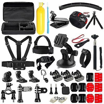 50-in-1 Essentials Accessories Kit for GoPro Hero 5/4/3/2/1 Session Hero LCD NEW