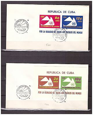 s15420) .CU BA. 1961 FDCx2 15 years United Nations 2 s/s