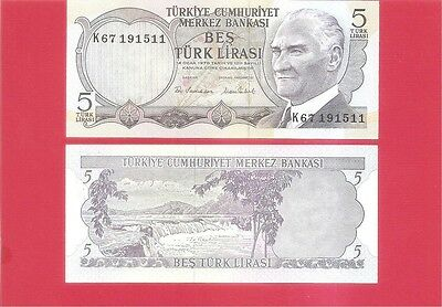 TURKEY p185 - 5 lira L1970 Uncirculated
