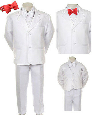 New Baby Boy Christening Wedding Formal Party Tuxedo Extra Red Tie White Suit
