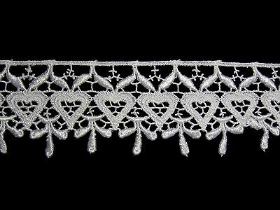 "Lily 1.25/"" Wide Beautiful White Heart Scalloped Edge Venice Lace Trim By Yardage"