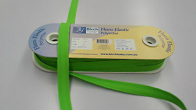 20mm WIDE :  BIRCH FLURO GREEN  POLYESTER ELASTIC : 5 METRES : #BF01C