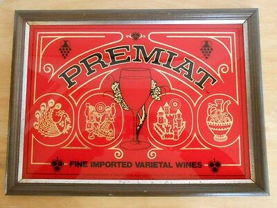 """Premiat Romanian Wines Sign in Wood Frame. 15.5"""" x 11.5"""""""