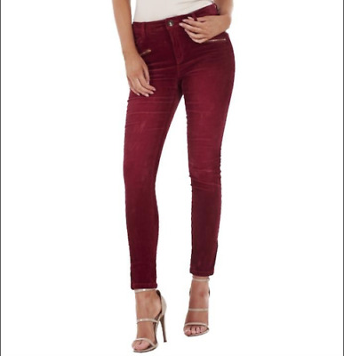 Marks and Spencer Ladies Skinny Leg Cord Corduroy Trousers in Black and Oxblood