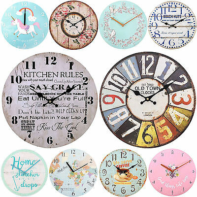 Large Stylish Round Wooden Wall Clock Vintage Floral Rose Kitchen Nautical Cafe