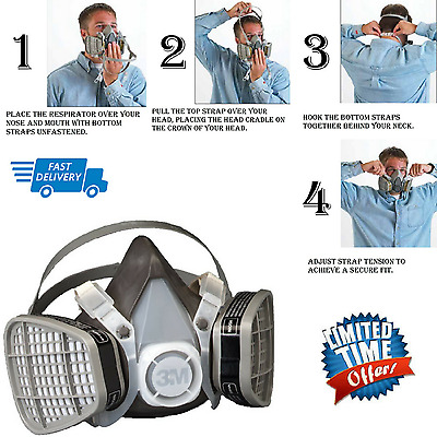 Respirator Mask Dust Paint Half Face Filter Spray Protect Smoke Gas 3M Large