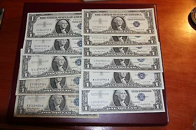 Lot of 11 One Dollar $1 Blue Seal Silver Certificates RMC 155