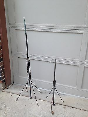 2 Vintage Copper Lightning Rods W/ A Tripod Stand & 4 Leg Stand