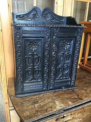 Antique Victorian Carved Oak Wall Hanging Cupboard