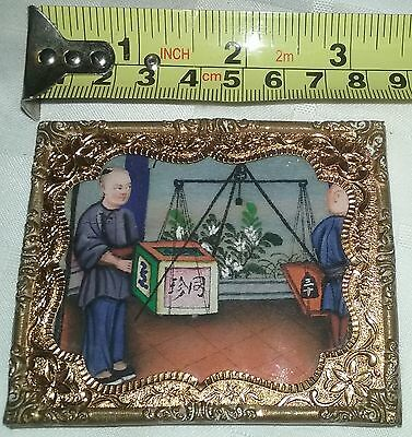 Small 1818 dated Antique Chinese Asian watercolor painting rice paper Merchant