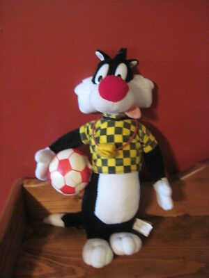 "RARE Looney Tunes COACH Sylvester Plush CAT 14"" Soccer Ball Referee Shirt Whistl"