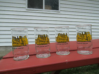 4 CAT Caterpillar D10 Tractor Glasses 12-1/2 ounce from Glassware by Brockway