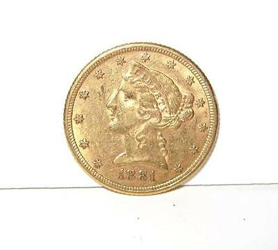 1881 Liberty Head $5 Gold Half Eagle Gold Coin with Mint Luster