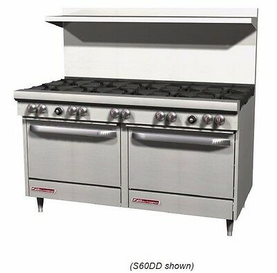 """S-Series Gas Range, 10 burners, 2 standard ovens, 60"""" wide, Southbend S60DD"""