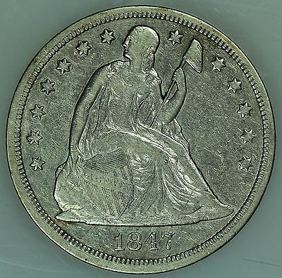 1847 Seated Liberty Dollar! Xf Details! $1! Us Coin Lot #3180