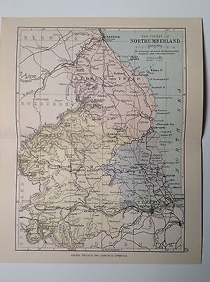 The County Of Northumberland Antique Map, 1885, Coloured, Atlas, Parliament