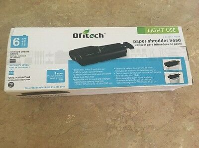 Ofitech Paper Shredder Head (Black) 6 sheet/credit card Adjustable Arm universal