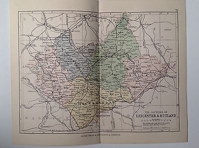 The Counties Leicester & Rutland Antique Map, 1885, Coloured, Atlas, Parliament