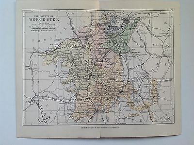 The County Of Worcester Antique Map, 1885, Coloured, Atlas, Kidderminster Upton