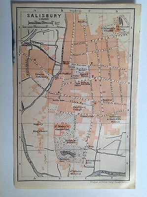 Salisbury Antique Street Map 1906, Wiltshire, England, Atlas