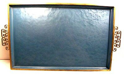 Vintage Kyes of Pasadena Moire Glaze Tray Teal Mid Century Modern