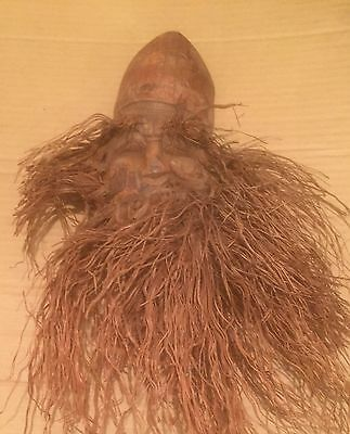 Bamboo Root Carved Face Bearded Man Snarling Asian Motif Reddish Color