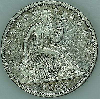 1846 Seated Half Dollar! Xf+/au Details! 50C! Us Coin Lot #3258