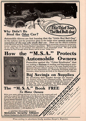 1915 A Ad  Motorists Security Alliance Red Bull Dog