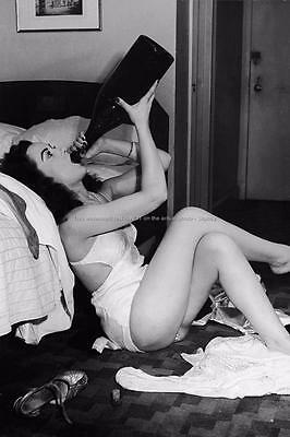 Wine Drinking Pinup Model 4x6 Photo Vintage Print T96