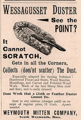 1894 A Ad  Wessagusset Duster Mitten Co S Weymouth Ma
