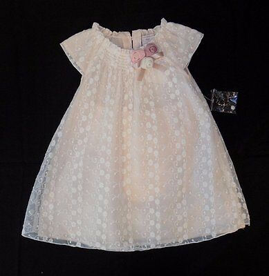 CATHERINE MALANDRINO MINI NWT Pink/White Floral Lace Overlay Dress Girls sz 18m