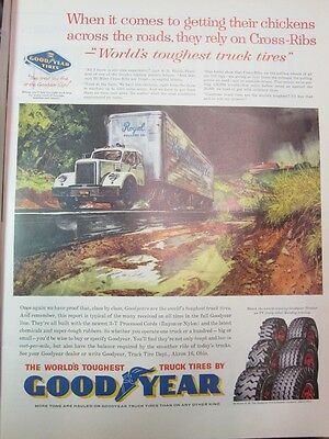 Vintage 1960 Goodyear Worlds Toughest Truck Tires Print Art Ad