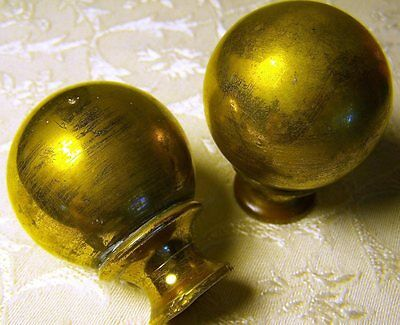 """Pair of Solid Brass 2"""" Finials for Antique Iron Bed 3/8"""" Thread"""