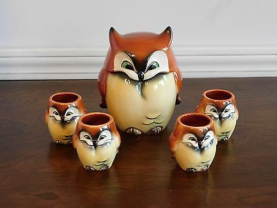 Rare Vintage Goebel Owl Mug with 4 creamers matching Set made in W.GERMANY