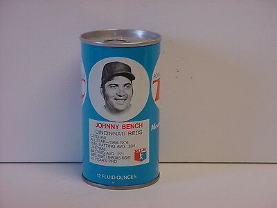 Vintage Johnny Bench RC Cola Straight Steel Pull Tab Bottom Opened Soda Can