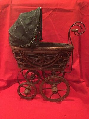 VINTAGE Victorian Baby Doll Wood Coach Carriage Buggy Stroller