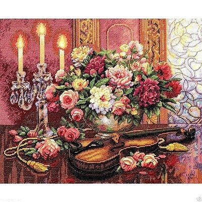 """Dimensions Gold Counted Cross Stitch kit 16"""" x 13"""" ~ ROMANTIC FLORAL 35185 Sale"""