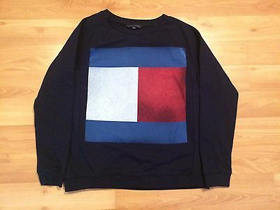 Kids Tommy Hilfiger Sweatshirt Youth Large Full Front Flag Navy Blue Womens